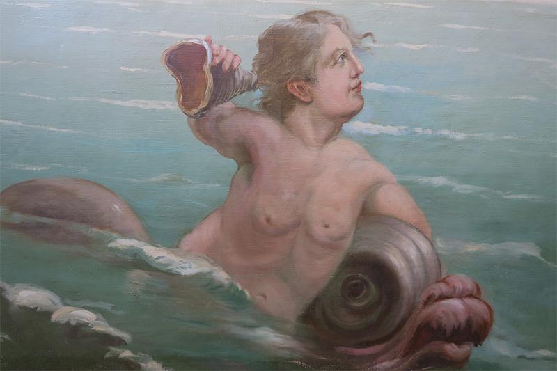 Detail grote doek zuidzijde Kurzaal_mogelijk zelfportret schilder N. van Hoeck_foto Louise de Blecourt